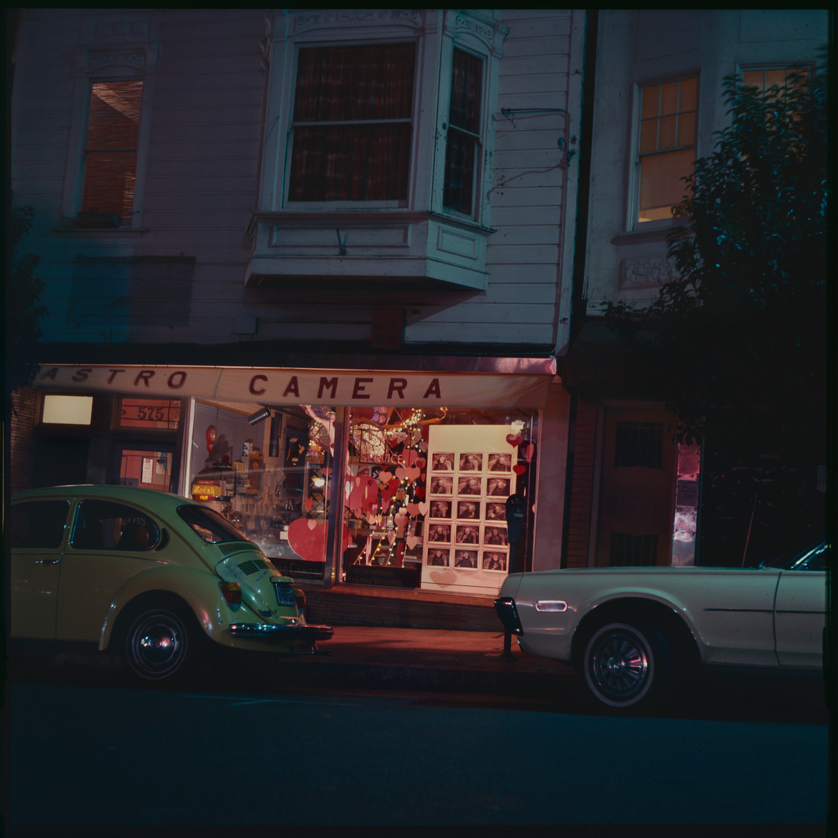 1975, Valentines window - Harvey Milk's Castro Street Camera Store, San Francisco